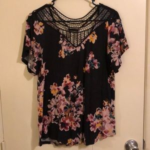 Gorgeous Black Floral Top with Lace Style Neckline